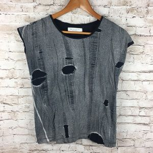 Zara Collection Distressed Holes Top Grunge Style